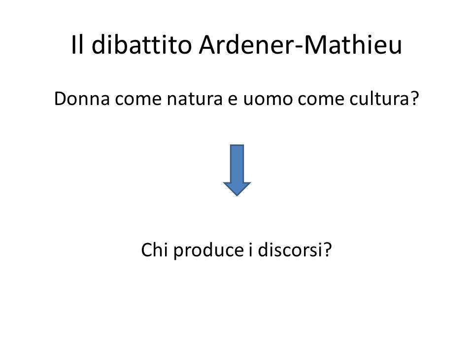 Il dibattito Ardener-Mathieu Donna come natura e uomo come cultura? Chi produce i discorsi?