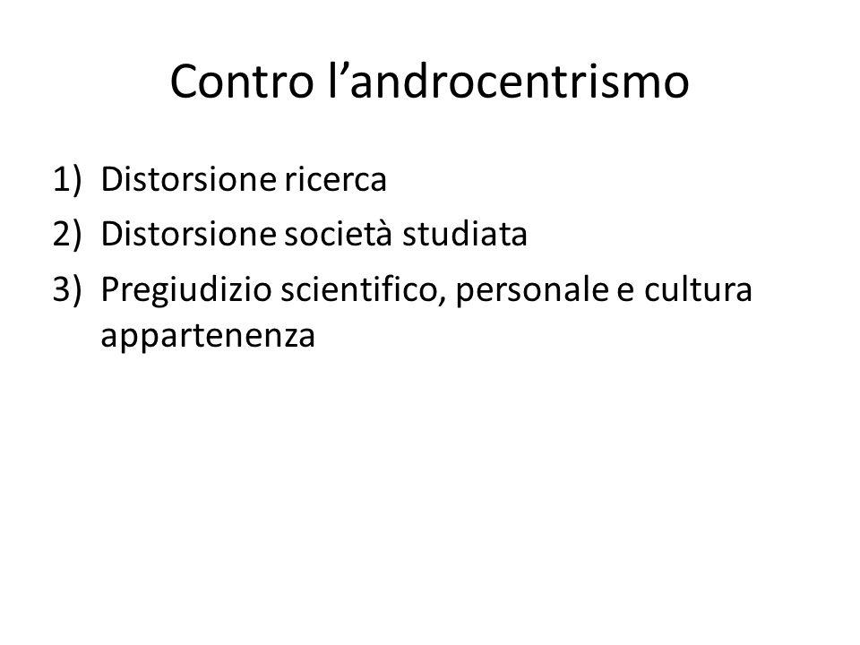 Contro landrocentrismo 1)Distorsione ricerca 2)Distorsione società studiata 3)Pregiudizio scientifico, personale e cultura appartenenza