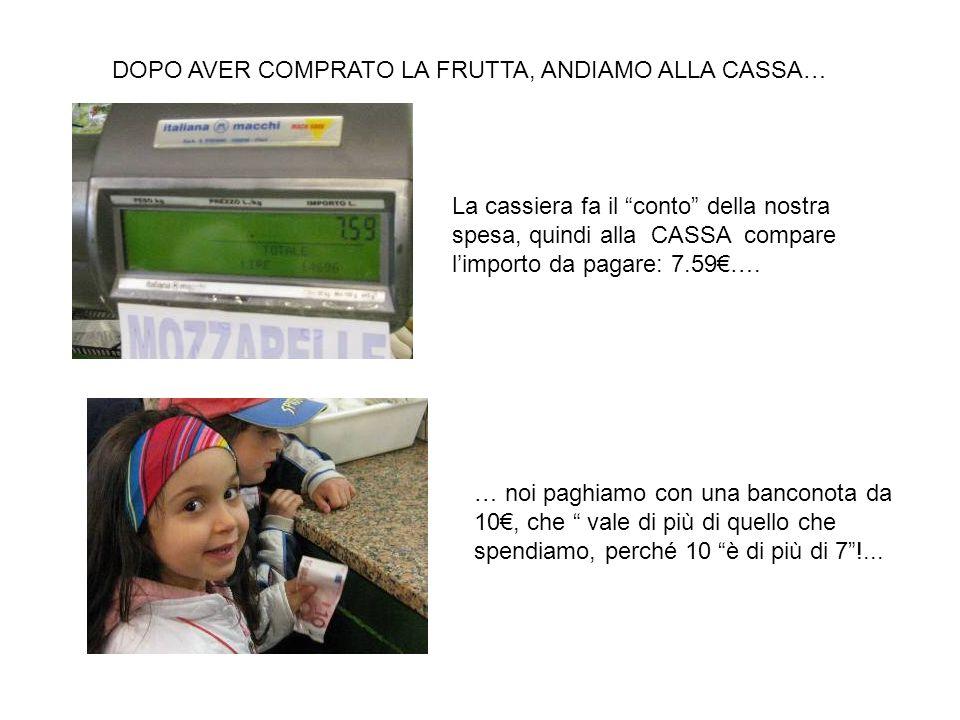 DOPO AVER COMPRATO LA FRUTTA, ANDIAMO ALLA CASSA… La cassiera fa il conto della nostra spesa, quindi alla CASSA compare limporto da pagare: 7.59…. … n