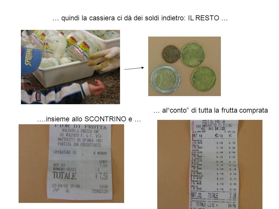 … quindi la cassiera ci dà dei soldi indietro: IL RESTO … ….insieme allo SCONTRINO e … … alconto di tutta la frutta comprata