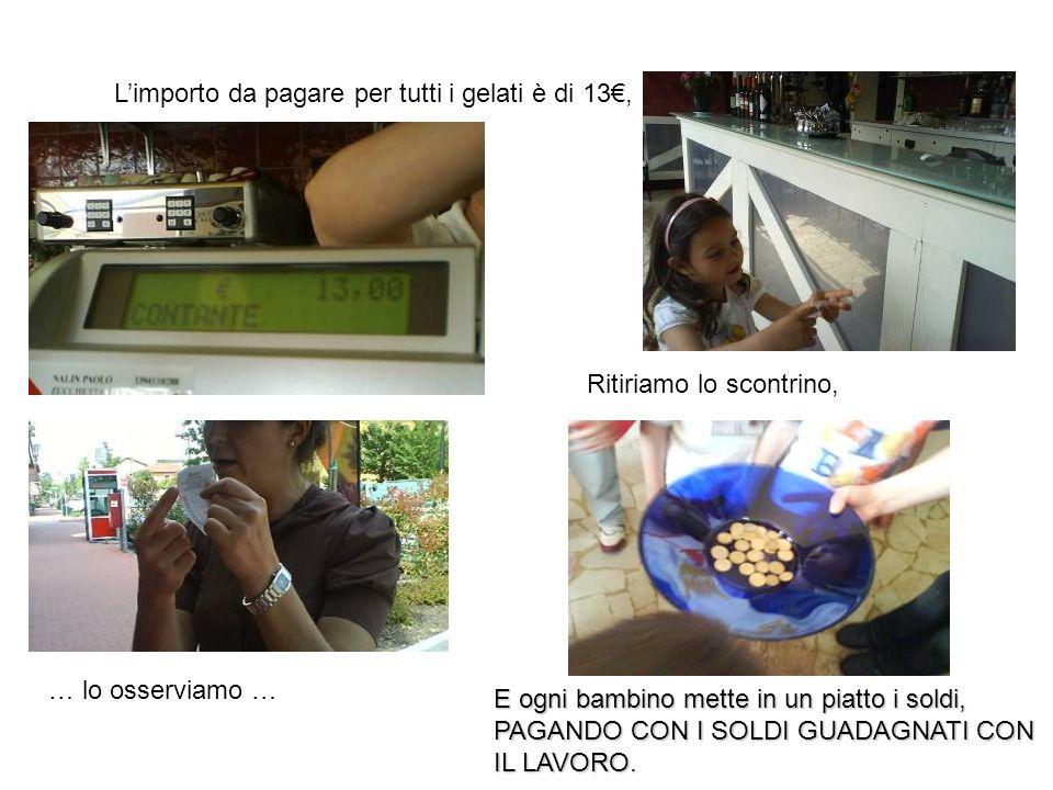 Limporto da pagare per tutti i gelati è di 13, … lo osserviamo … Ritiriamo lo scontrino, E ogni bambino mette in un piatto i soldi, PAGANDO CON I SOLD