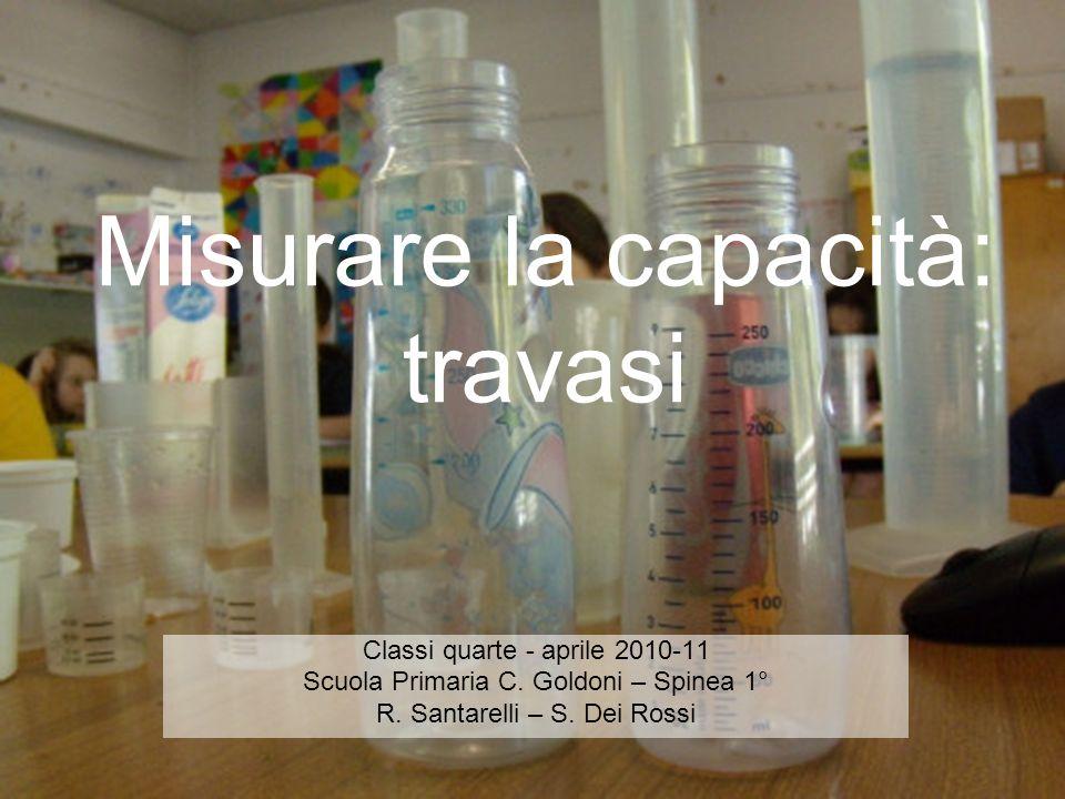 Misurare la capacità: travasi Classi quarte - aprile 2010-11 Scuola Primaria C. Goldoni – Spinea 1° R. Santarelli – S. Dei Rossi