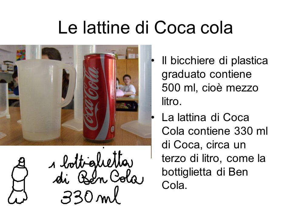 Le lattine di Coca cola Il bicchiere di plastica graduato contiene 500 ml, cioè mezzo litro. La lattina di Coca Cola contiene 330 ml di Coca, circa un