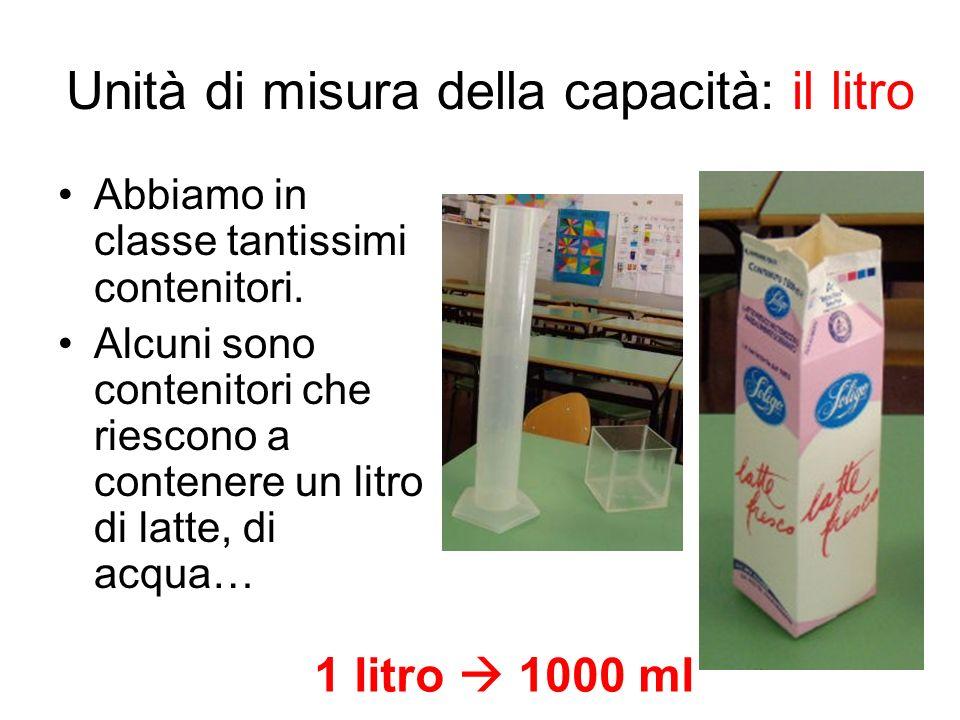 Unità di misura della capacità: il litro Abbiamo in classe tantissimi contenitori. Alcuni sono contenitori che riescono a contenere un litro di latte,