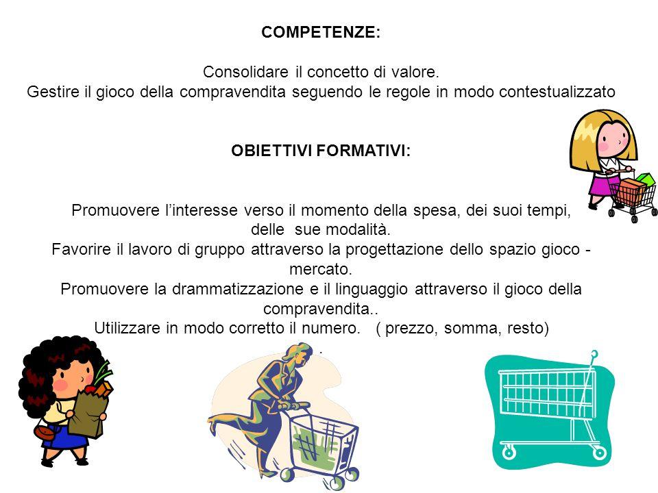COMPETENZE: Consolidare il concetto di valore. Gestire il gioco della compravendita seguendo le regole in modo contestualizzato OBIETTIVI FORMATIVI: P
