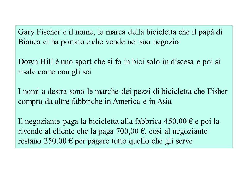 Gary Fischer è il nome, la marca della bicicletta che il papà di Bianca ci ha portato e che vende nel suo negozio Down Hill è uno sport che si fa in b