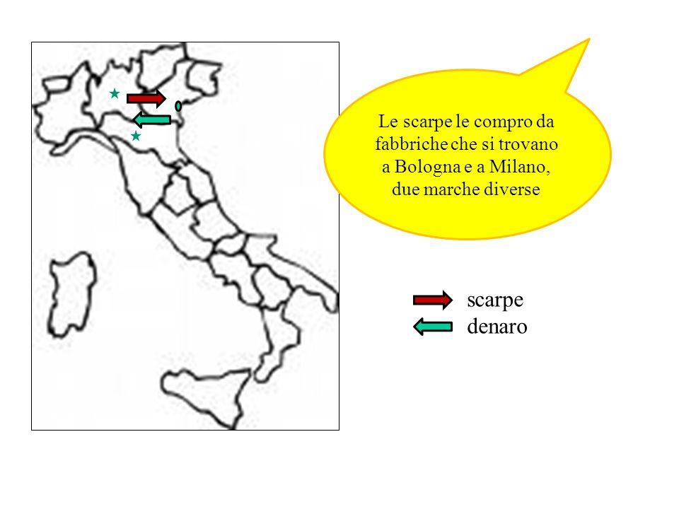 Le scarpe le compro da fabbriche che si trovano a Bologna e a Milano, due marche diverse scarpe denaro