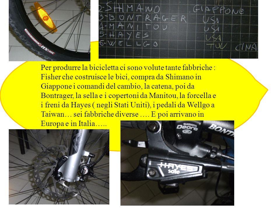 Per produrre la bicicletta ci sono volute tante fabbriche : Fisher che costruisce le bici, compra da Shimano in Giappone i comandi del cambio, la cate