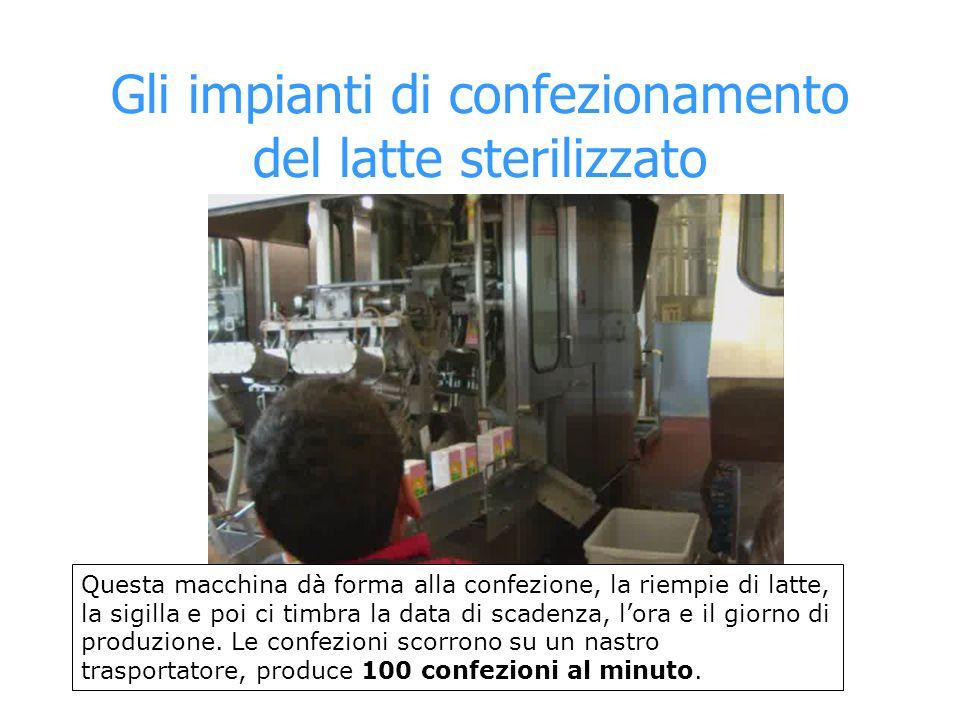 Gli impianti di confezionamento del latte sterilizzato Questa macchina dà forma alla confezione, la riempie di latte, la sigilla e poi ci timbra la da