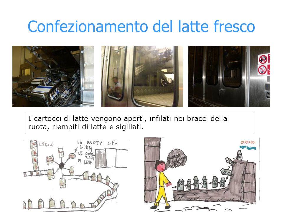 Confezionamento del latte fresco I cartocci di latte vengono aperti, infilati nei bracci della ruota, riempiti di latte e sigillati.