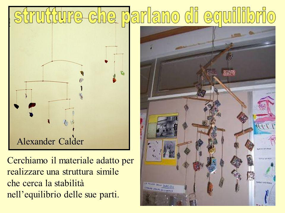 Cerchiamo il materiale adatto per realizzare una struttura simile che cerca la stabilità nellequilibrio delle sue parti. Alexander Calder