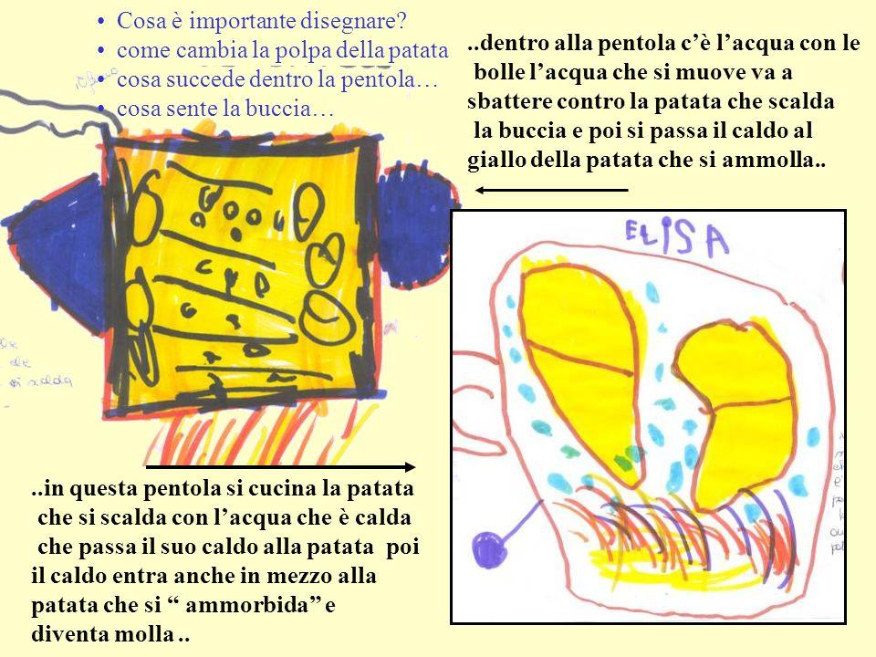 ..dentro alla pentola cè lacqua con le bolle lacqua che si muove va a sbattere contro la patata che scalda la buccia e poi si passa il caldo al giallo