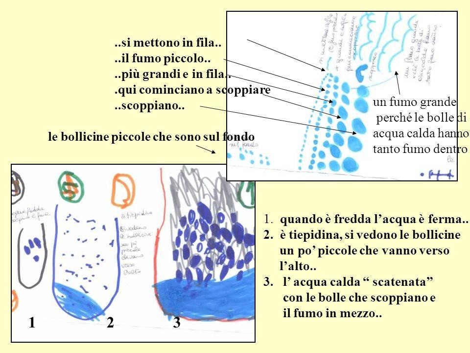1. quando è fredda lacqua è ferma.. 2. è tiepidina, si vedono le bollicine un po piccole che vanno verso lalto.. 3. l acqua calda scatenata con le bol