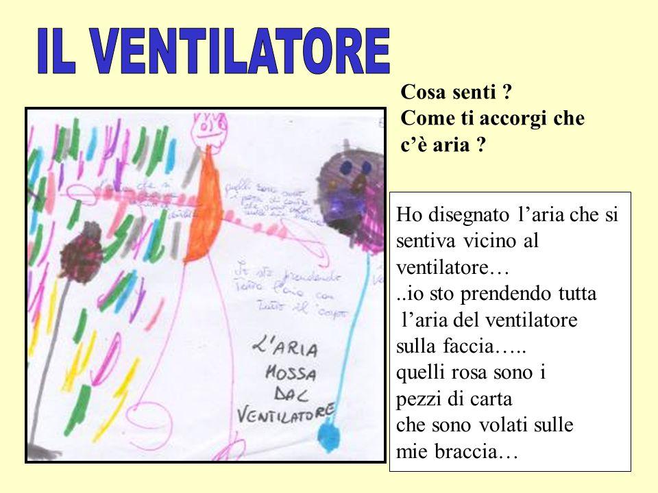 Ho disegnato laria che si sentiva vicino al ventilatore…..io sto prendendo tutta laria del ventilatore sulla faccia….. quelli rosa sono i pezzi di car
