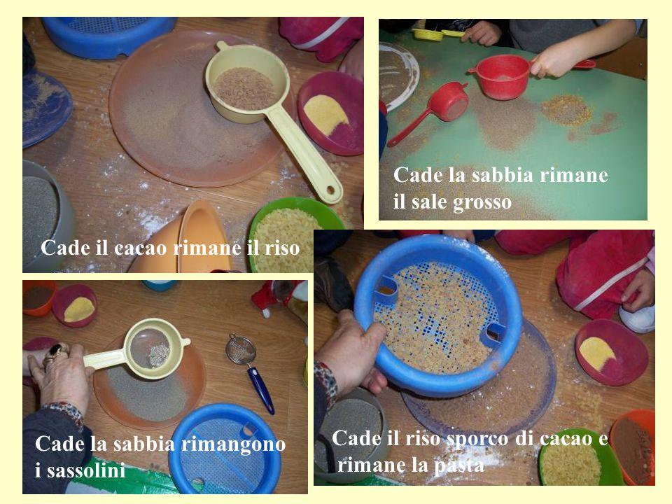 Cade il cacao rimane il riso Cade la sabbia rimane il sale grosso Cade la sabbia rimangono i sassolini Cade il riso sporco di cacao e rimane la pasta