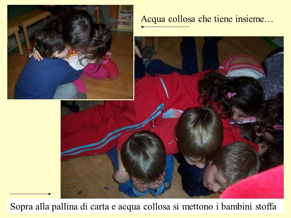 Acqua collosa che tiene insieme… Sopra alla pallina di carta e acqua collosa si mettono i bambini stoffa