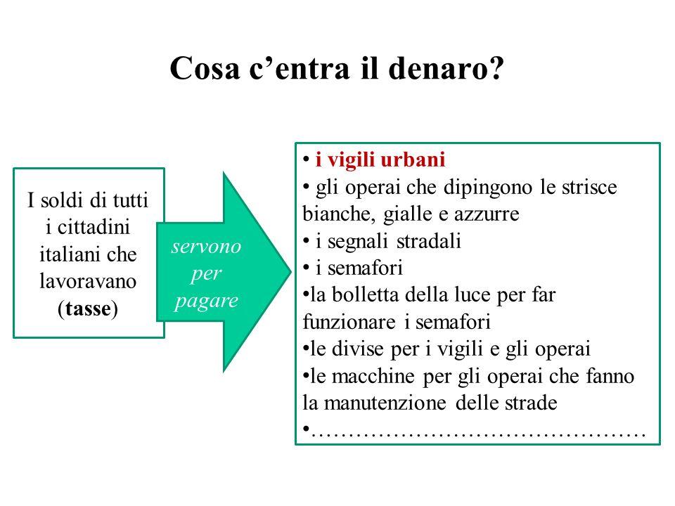 Cosa centra il denaro? I soldi di tutti i cittadini italiani che lavoravano (tasse) i vigili urbani gli operai che dipingono le strisce bianche, giall