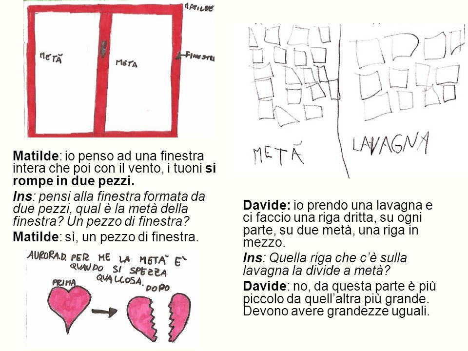 Matilde: io penso ad una finestra intera che poi con il vento, i tuoni si rompe in due pezzi. Ins: pensi alla finestra formata da due pezzi, qual è la