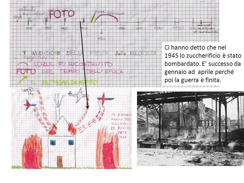 Ci hanno detto che nel 1945 lo zuccherificio è stato bombardato. E successo da gennaio ad aprile perché poi la guerra è finita.