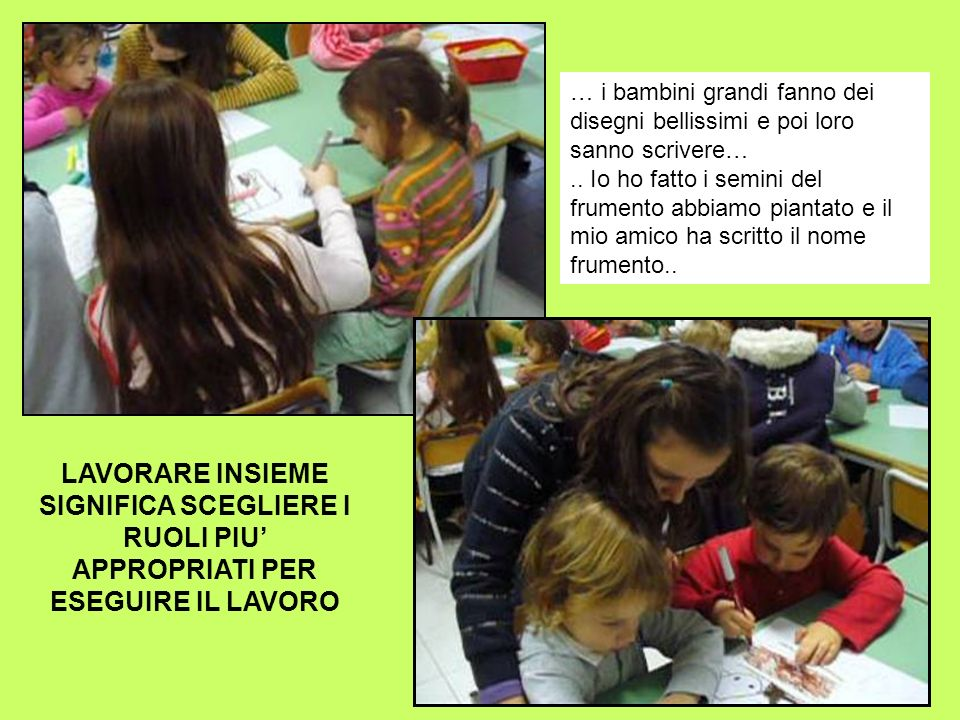 … i bambini grandi fanno dei disegni bellissimi e poi loro sanno scrivere….. Io ho fatto i semini del frumento abbiamo piantato e il mio amico ha scri
