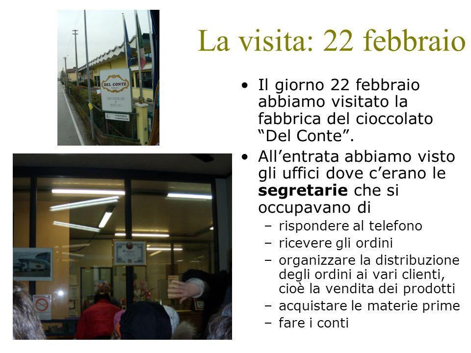 La visita: 22 febbraio Il giorno 22 febbraio abbiamo visitato la fabbrica del cioccolato Del Conte. Allentrata abbiamo visto gli uffici dove cerano le