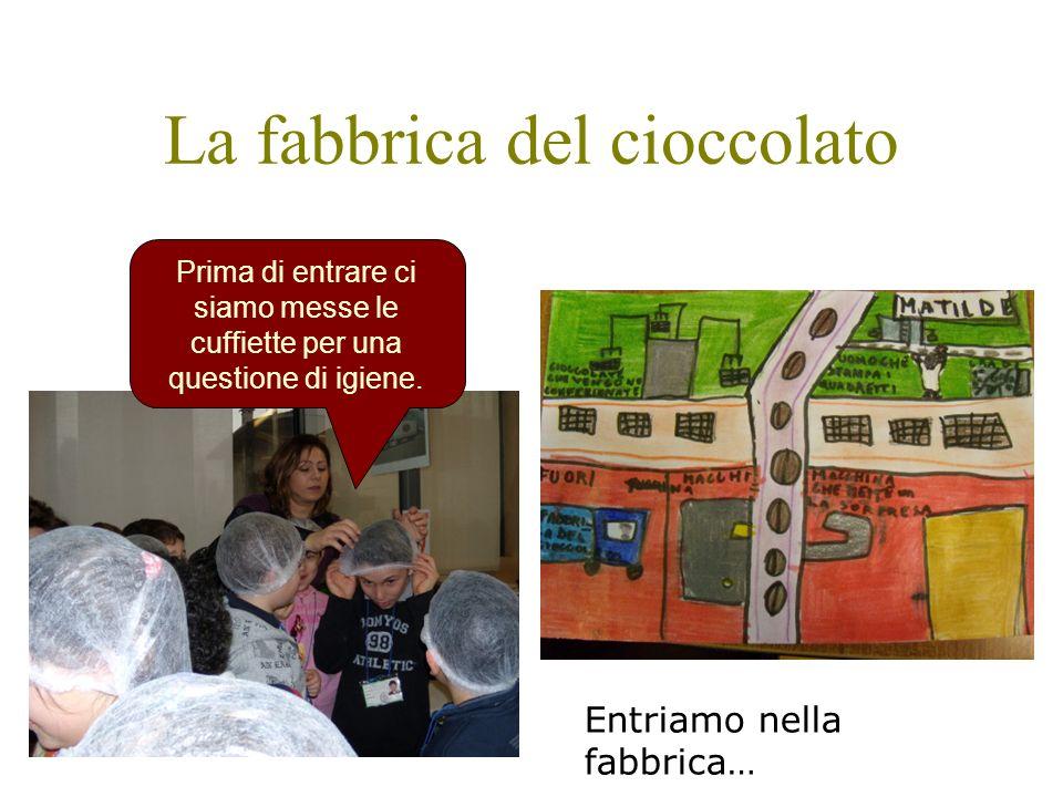 La fabbrica del cioccolato Prima di entrare ci siamo messe le cuffiette per una questione di igiene. Entriamo nella fabbrica…