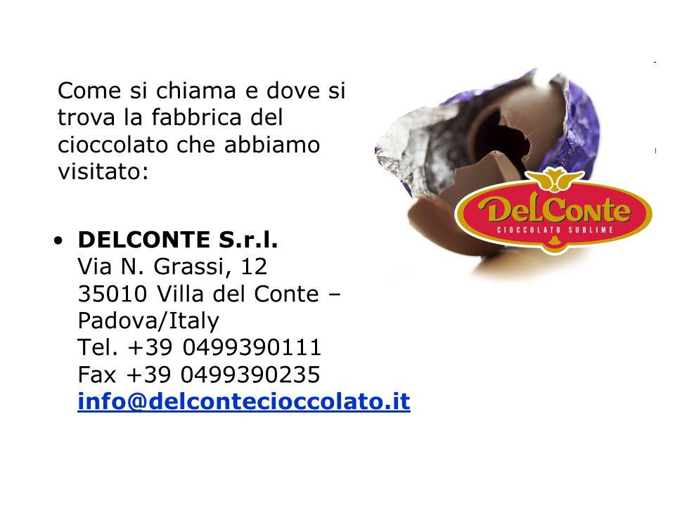 DELCONTE S.r.l. Via N. Grassi, 12 35010 Villa del Conte – Padova/Italy Tel. +39 0499390111 Fax +39 0499390235 info@delcontecioccolato.it info@delconte