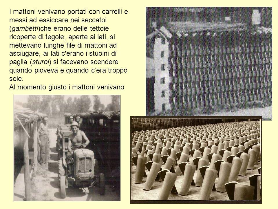 I mattoni venivano portati con carrelli e messi ad essiccare nei seccatoi (gambetti)che erano delle tettoie ricoperte di tegole, aperte ai lati, si me