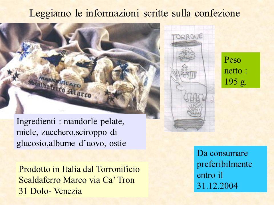 Leggiamo le informazioni scritte sulla confezione Prodotto in Italia dal Torronificio Scaldaferro Marco via Ca Tron 31 Dolo- Venezia Ingredienti : mandorle pelate, miele, zucchero,sciroppo di glucosio,albume duovo, ostie Peso netto : 195 g.