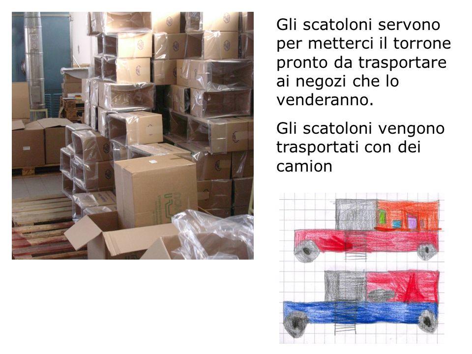 Gli scatoloni servono per metterci il torrone pronto da trasportare ai negozi che lo venderanno. Gli scatoloni vengono trasportati con dei camion