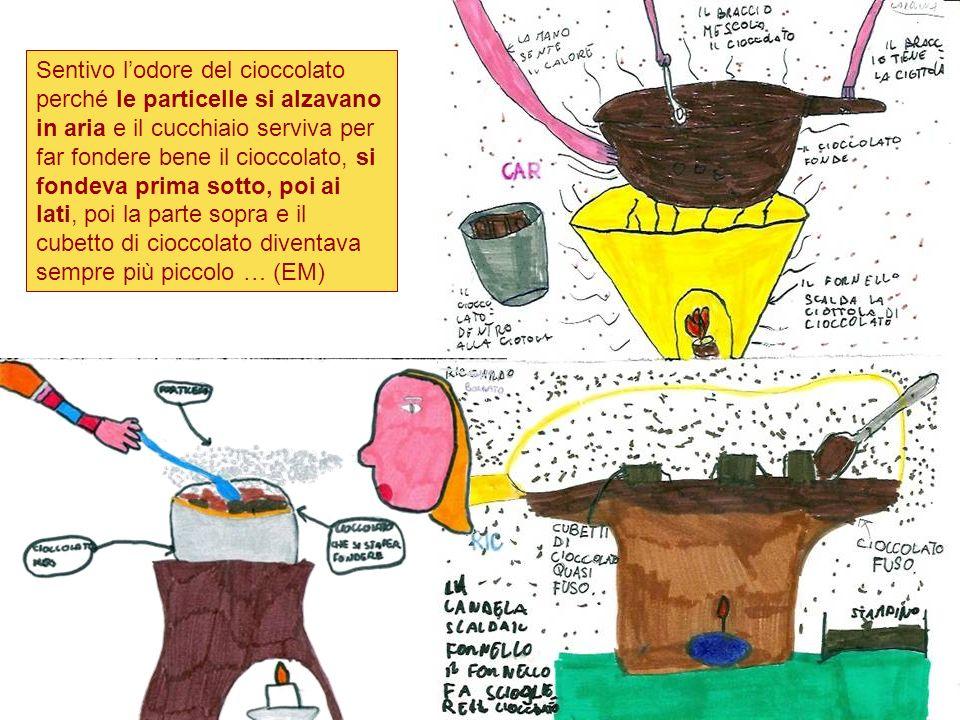 Sentivo lodore del cioccolato perché le particelle si alzavano in aria e il cucchiaio serviva per far fondere bene il cioccolato, si fondeva prima sot