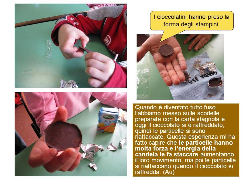 I cioccolatini hanno preso la forma degli stampini. Quando è diventato tutto fuso labbiamo messo sulle scodelle preparate con la carta stagnola e oggi