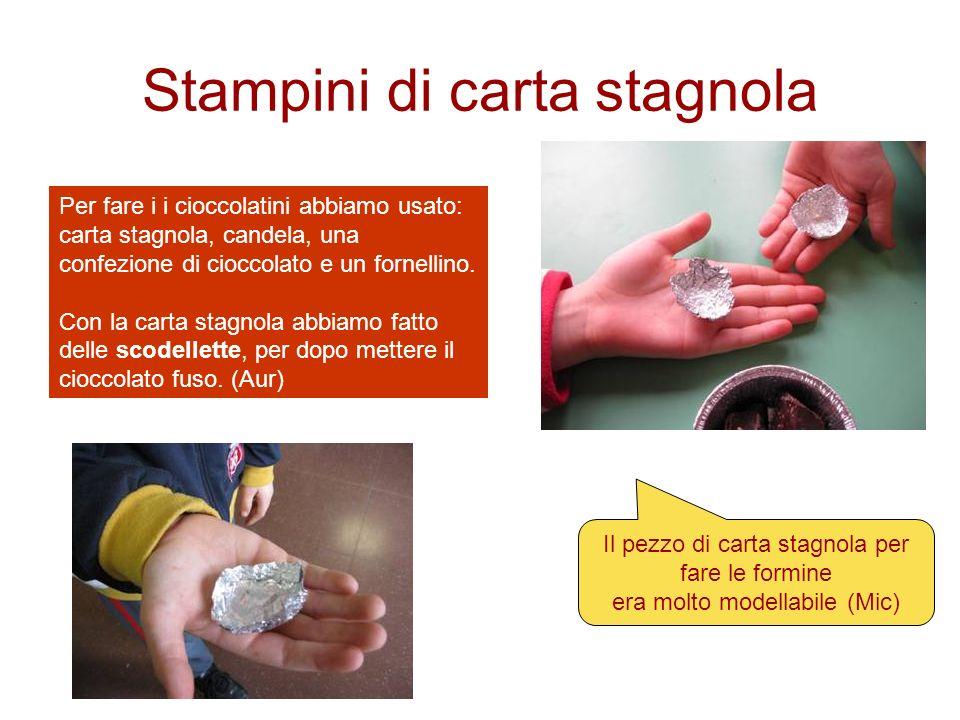 Stampini di carta stagnola Per fare i i cioccolatini abbiamo usato: carta stagnola, candela, una confezione di cioccolato e un fornellino. Con la cart