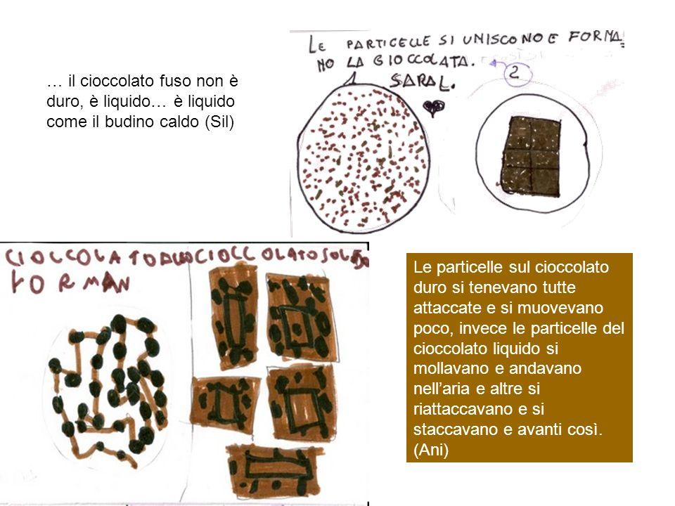 Le particelle sul cioccolato duro si tenevano tutte attaccate e si muovevano poco, invece le particelle del cioccolato liquido si mollavano e andavano