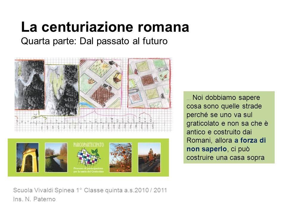 La centuriazione romana Quarta parte: Dal passato al futuro Scuola Vivaldi Spinea 1° Classe quinta a.s.2010 / 2011 Ins. N. Paterno … Noi dobbiamo sape