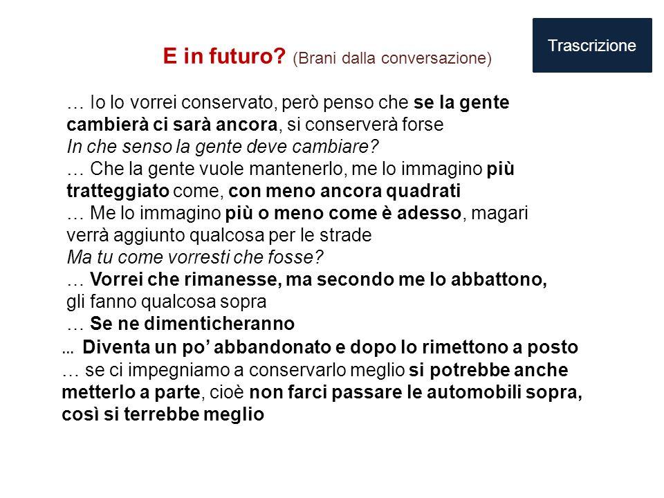 E in futuro? (Brani dalla conversazione) … Io lo vorrei conservato, però penso che se la gente cambierà ci sarà ancora, si conserverà forse In che sen