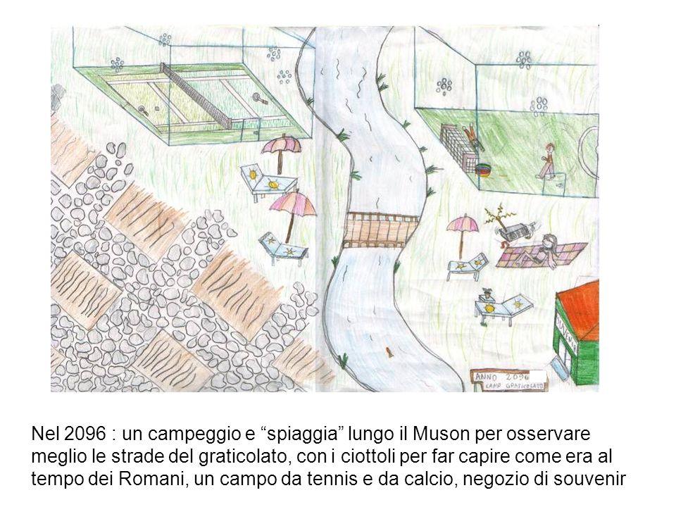 Nel 2096 : un campeggio e spiaggia lungo il Muson per osservare meglio le strade del graticolato, con i ciottoli per far capire come era al tempo dei