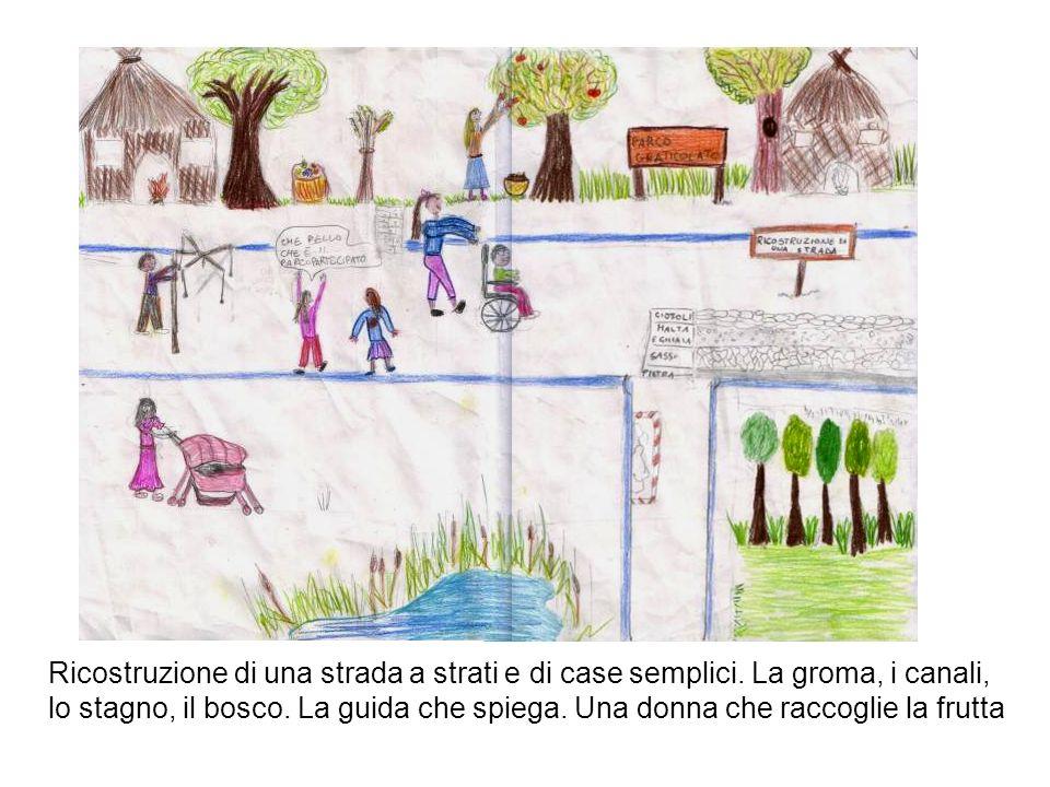Ricostruzione di una strada a strati e di case semplici. La groma, i canali, lo stagno, il bosco. La guida che spiega. Una donna che raccoglie la frut