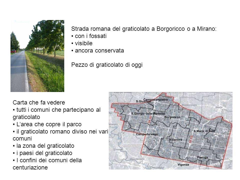 Strada romana del graticolato a Borgoricco o a Mirano: con i fossati visibile ancora conservata Pezzo di graticolato di oggi Carta che fa vedere tutti