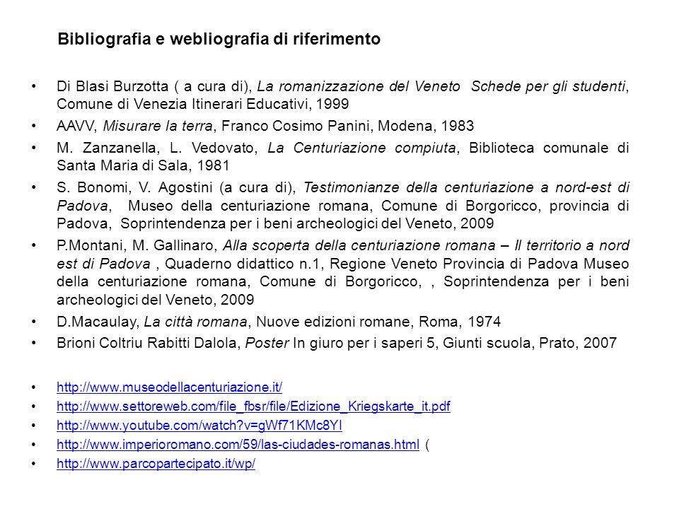 Di Blasi Burzotta ( a cura di), La romanizzazione del Veneto Schede per gli studenti, Comune di Venezia Itinerari Educativi, 1999 AAVV, Misurare la te