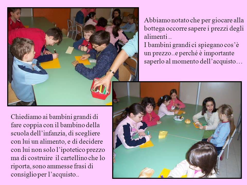 Chiediamo ai bambini grandi di fare coppia con il bambino della scuola dellinfanzia, di scegliere con lui un alimento, e di decidere con lui non solo