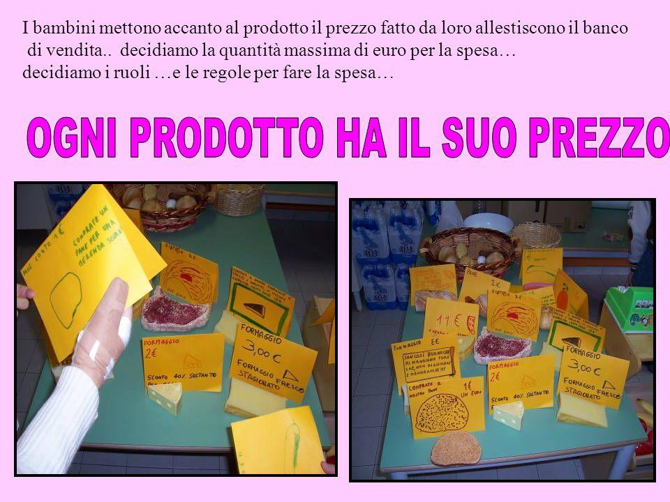 I bambini mettono accanto al prodotto il prezzo fatto da loro allestiscono il banco di vendita.. decidiamo la quantità massima di euro per la spesa… d