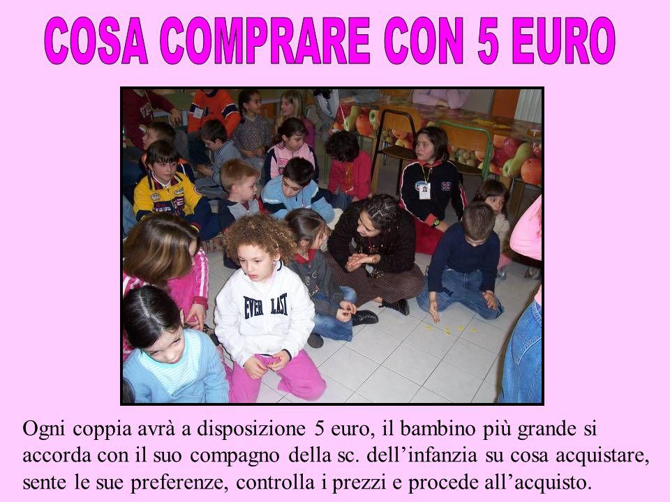 Ogni coppia avrà a disposizione 5 euro, il bambino più grande si accorda con il suo compagno della sc. dellinfanzia su cosa acquistare, sente le sue p