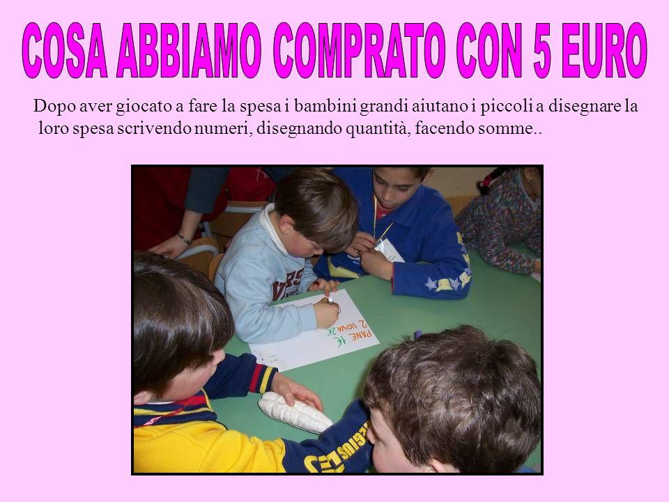 Dopo aver giocato a fare la spesa i bambini grandi aiutano i piccoli a disegnare la loro spesa scrivendo numeri, disegnando quantità, facendo somme..