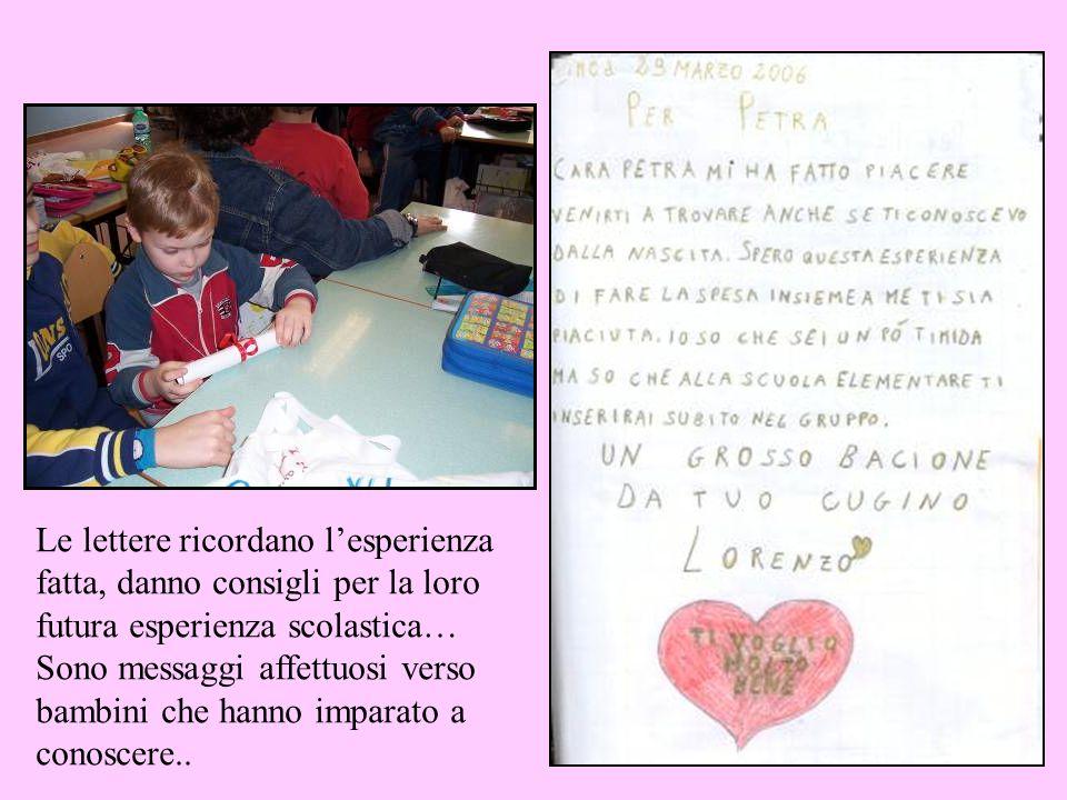 Le lettere ricordano lesperienza fatta, danno consigli per la loro futura esperienza scolastica… Sono messaggi affettuosi verso bambini che hanno impa