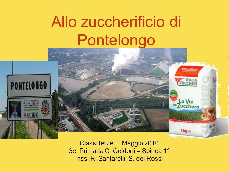 Allo zuccherificio di Pontelongo Classi terze – Maggio 2010 Sc. Primaria C. Goldoni – Spinea 1° Inss. R. Santarelli, S. dei Rossi