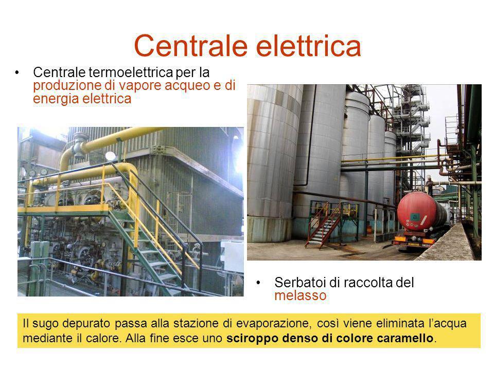 Centrale elettrica Centrale termoelettrica per la produzione di vapore acqueo e di energia elettrica Serbatoi di raccolta del melasso Il sugo depurato