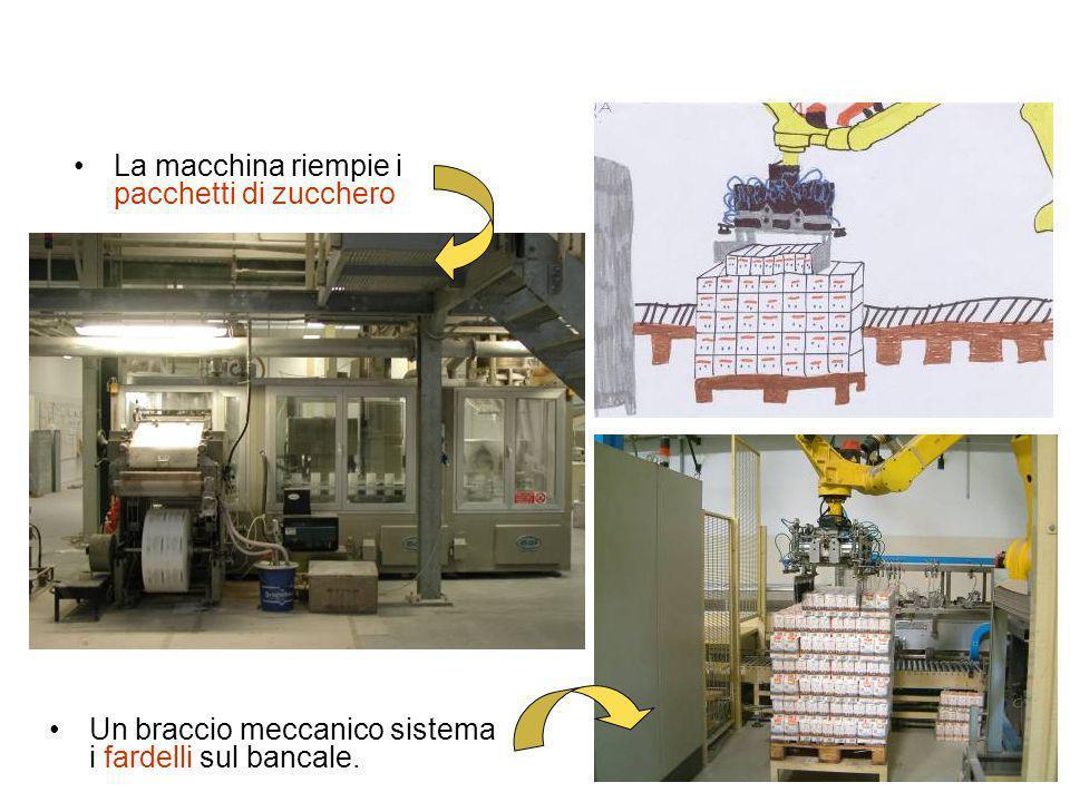 La macchina riempie i pacchetti di zucchero Un braccio meccanico sistema i fardelli sul bancale.