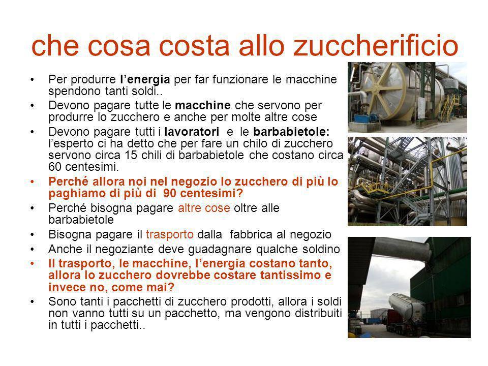 che cosa costa allo zuccherificio Per produrre lenergia per far funzionare le macchine spendono tanti soldi.. Devono pagare tutte le macchine che serv
