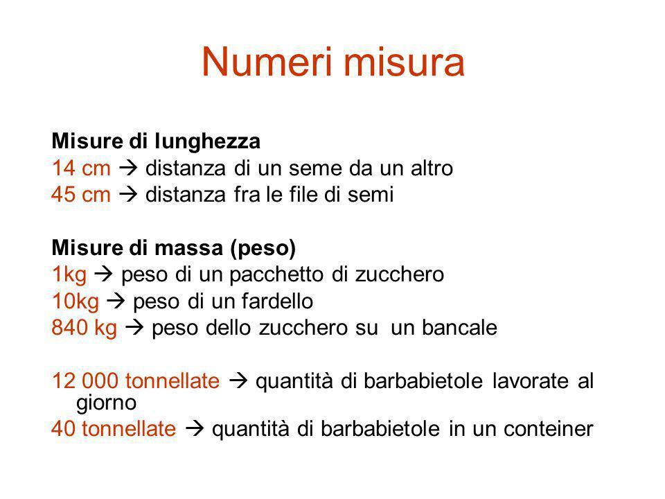 Misure di lunghezza 14 cm distanza di un seme da un altro 45 cm distanza fra le file di semi Misure di massa (peso) 1kg peso di un pacchetto di zucche